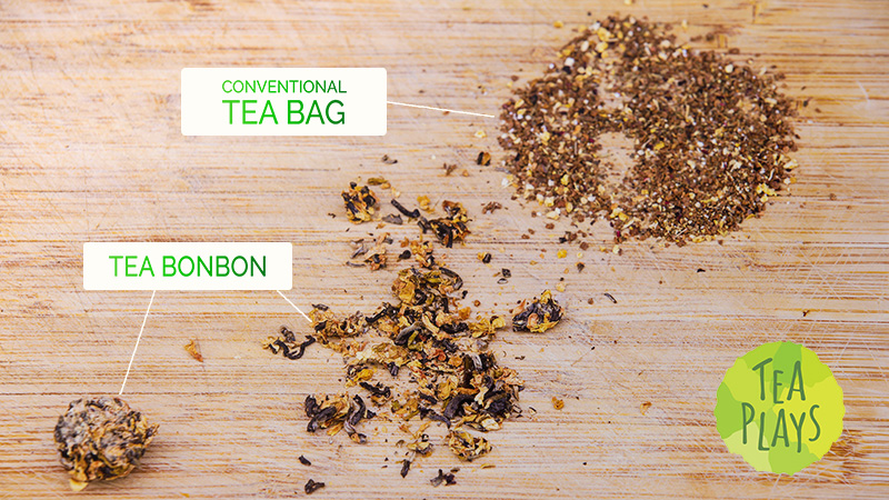 What is the difference between Tea Plays Bonbons and typical tea bags?